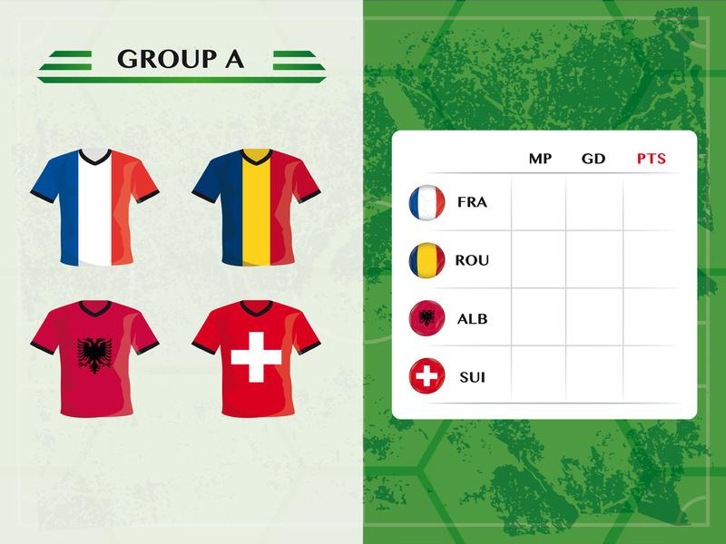 Gruppe A der EM 2016-Teilnehmerlaender